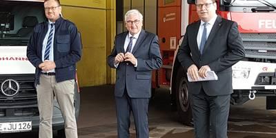 v l n r Buergermeister Axel Clauss Minister Michael Richter Landrat Christian Tylsch klein ©Claudia Thiele